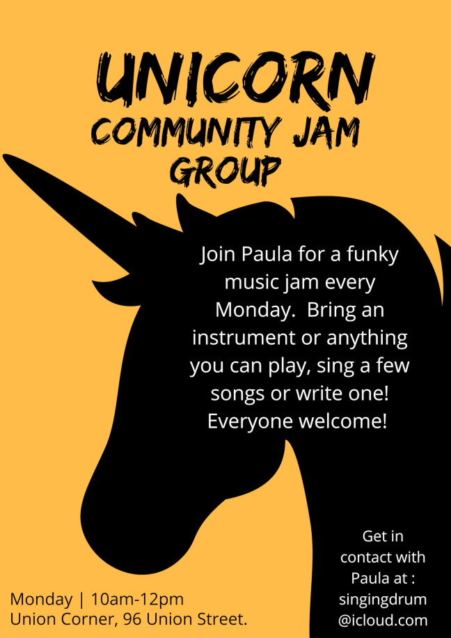 join paula for a funky music jam every monday. bring an instrument or anything you can play, sing a few songs or write one! everyone welcome!